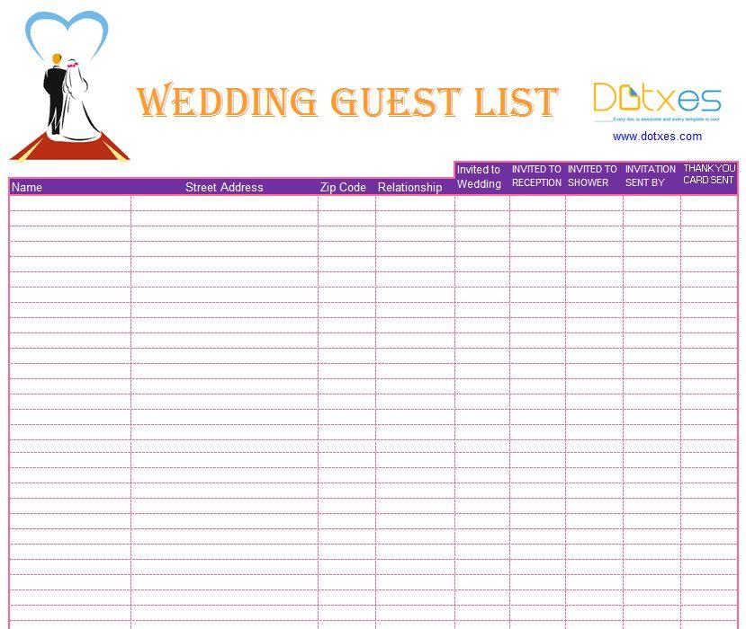 Wedding Planning Guest List Template 7 Free Wedding Guest List - invite list template