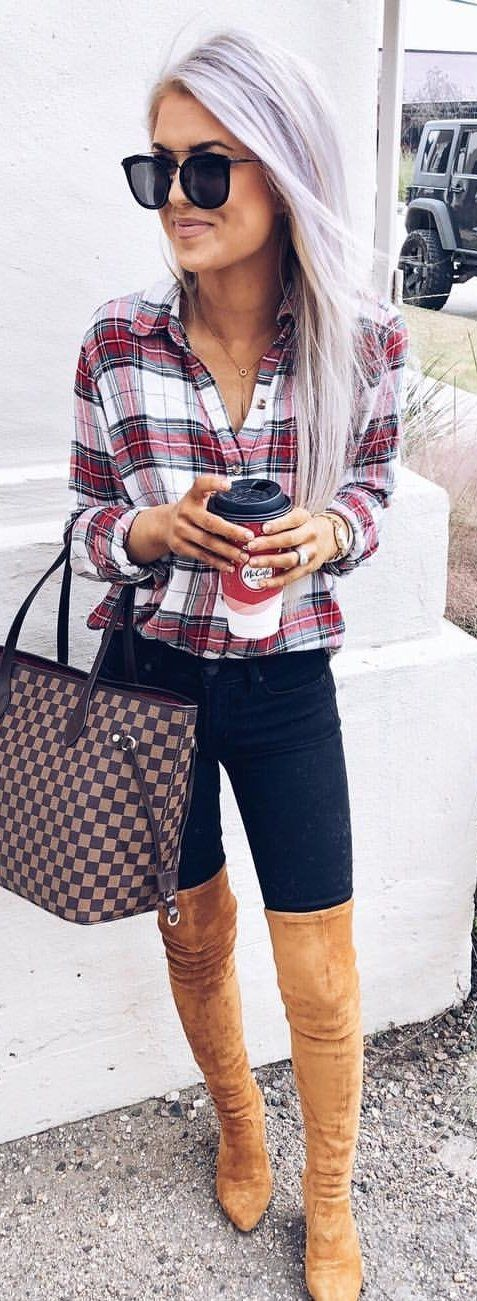 red, white, and black plaid sport shirt