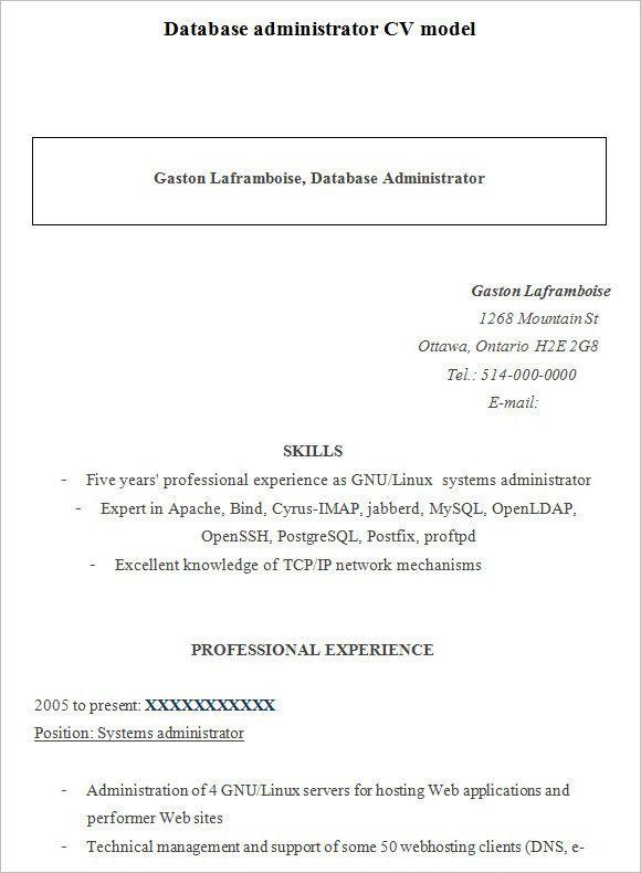 System Administrator Resume Format System Administrator Resume - sample database administrator resume