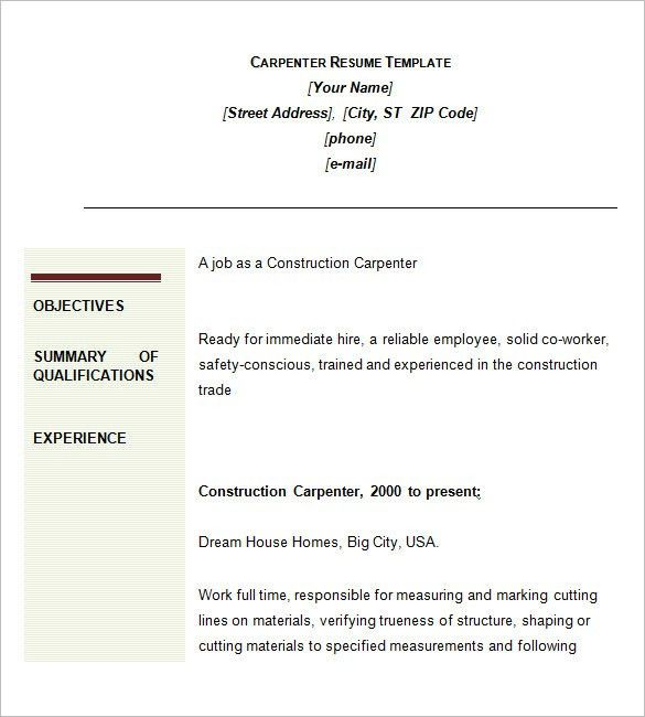 Carpenter Resume Sample Resume, Carpenter Resumeexamplessamples - construction resume objective