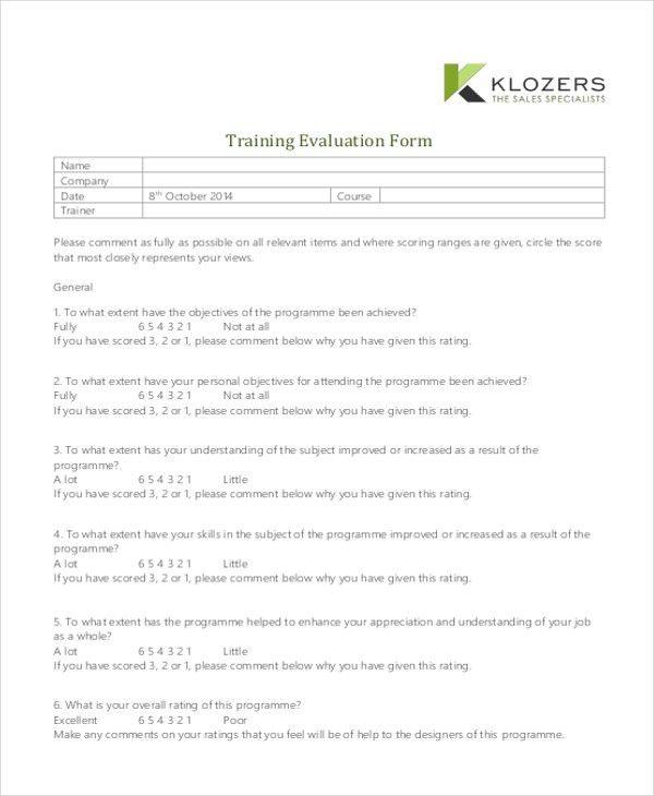 sample training evaluation form – On the Job Training Evaluation Form