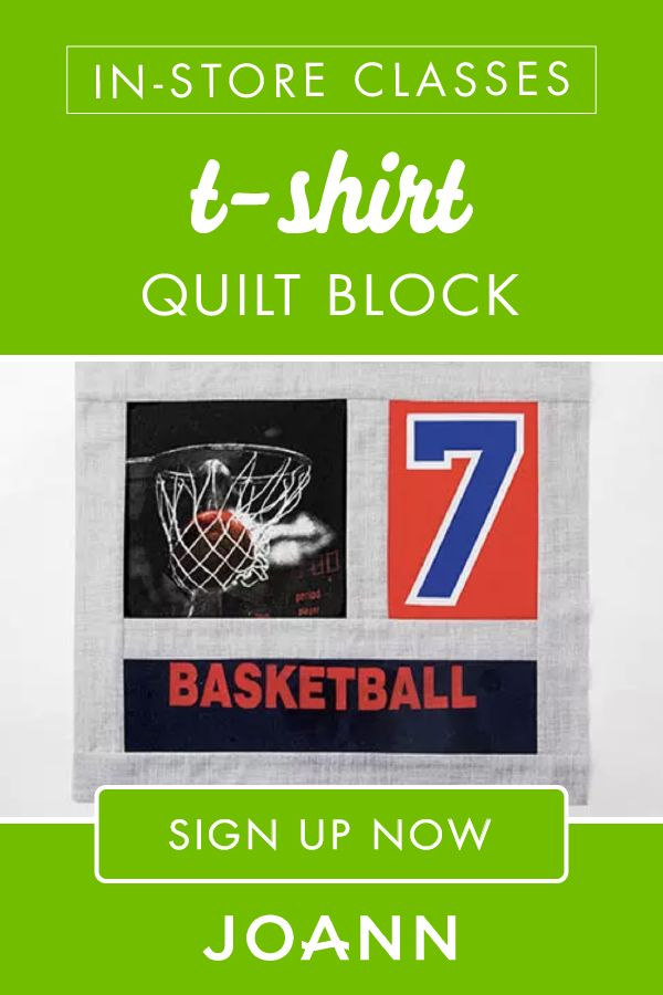 Get ready to display your favorite T-shirt as part of a quilt in this T-shirt Quilt Block in-store class at JOANN! Students will learn how to make a block from a special shirt, quilt with a knit fabric and add a border to a block. Click here to register now!