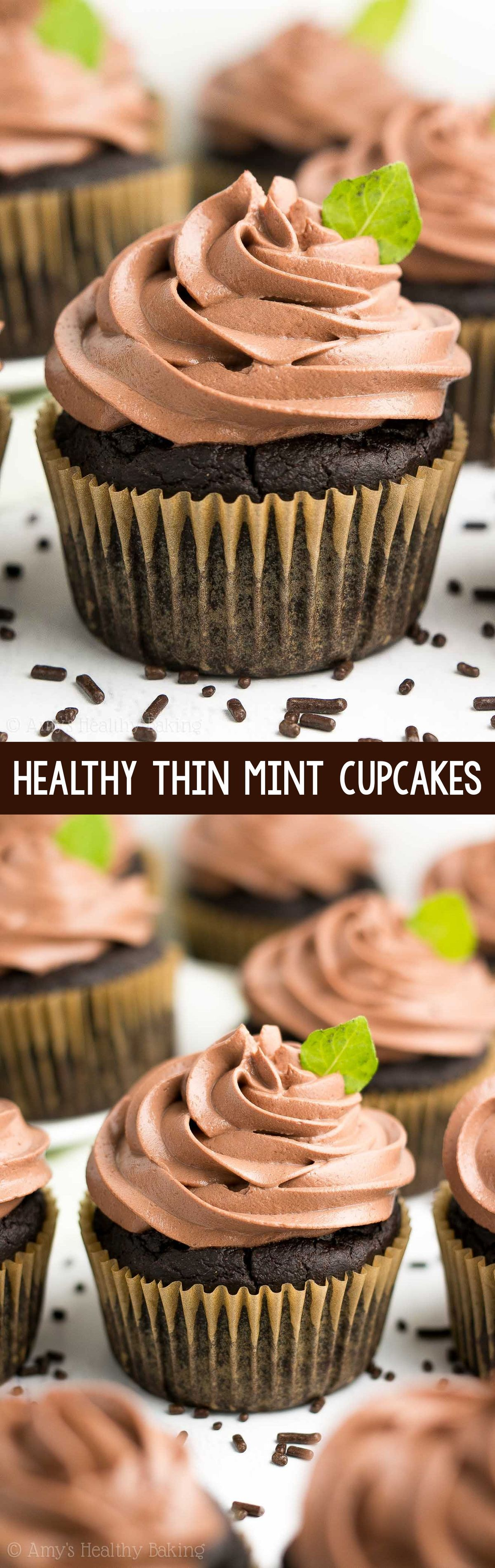 Healthy Thin Mint Cupcakes