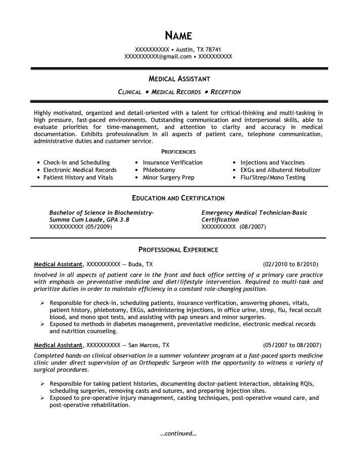 medical assistant biography