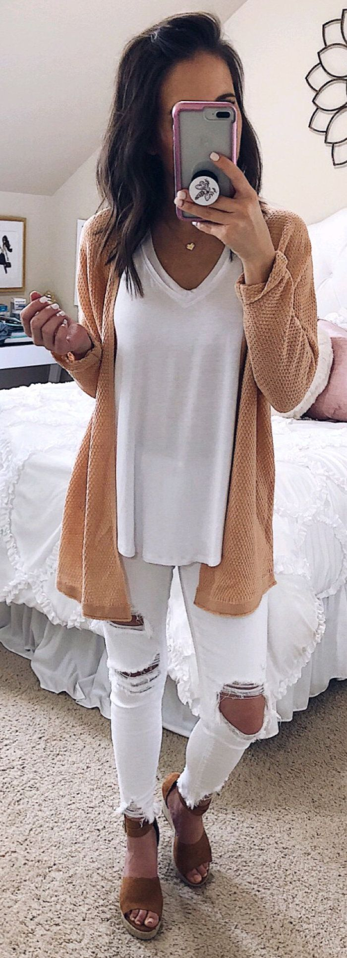 brown long sleeve dress #spring #outfits