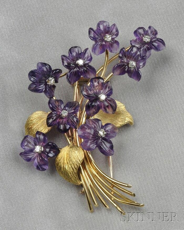 "18kt Gold, Carved Amethyst, and Diamond Brooch, France, depicting a spray of violets with carved amethyst petals, diamond melee centers, lg. 3 in., maker's mark and guarantee stamps. Skinner <a class=""pintag"" href=""/explore/diamondbrooches/"" title=""#diamondbrooches explore Pinterest"">#diamondbrooches</a><p><a href=""http://www.homeinteriordesign.org/2018/02/short-guide-to-interior-decoration.html"">Short guide to interior decoration</a></p>"