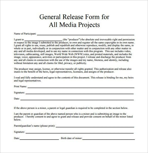 General Release Form Template General Release Form 7 Free Samples - sample print release form example