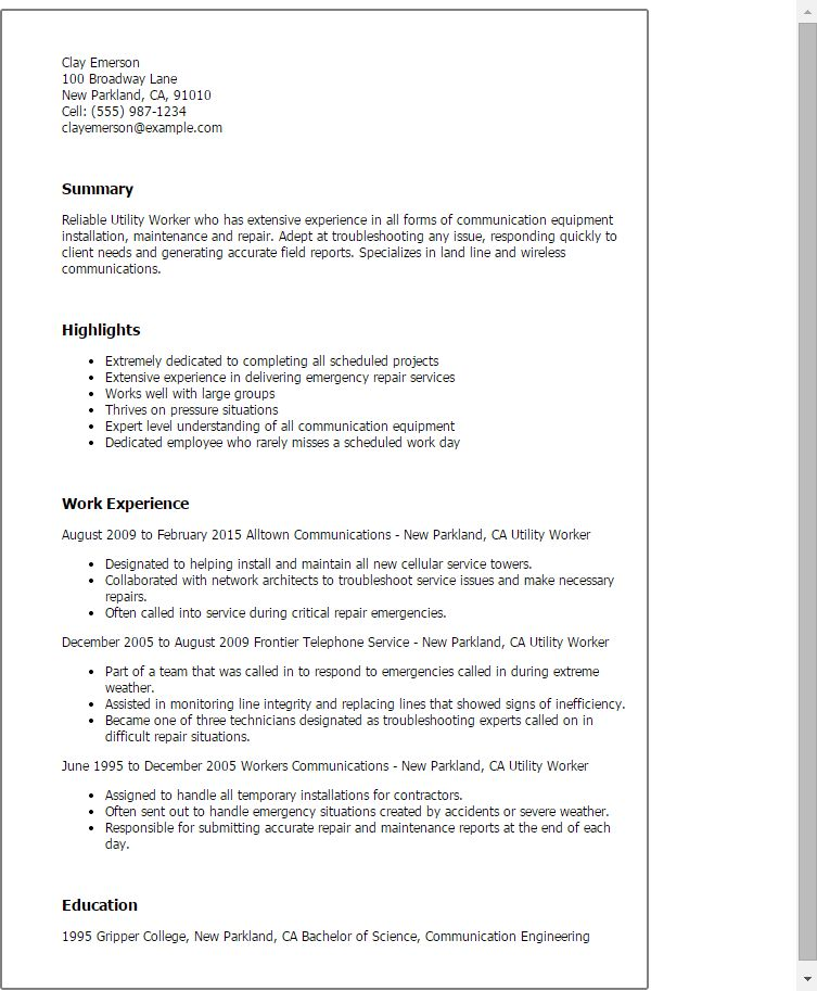 utility worker sample resume node2004-resume-templatepaasprovider