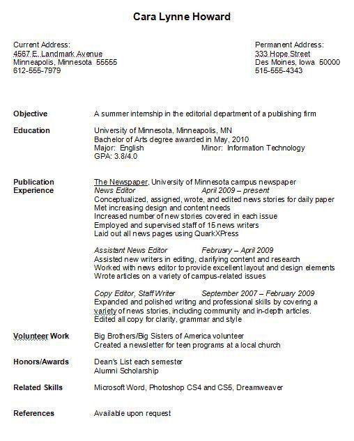 undergraduate student cv sample