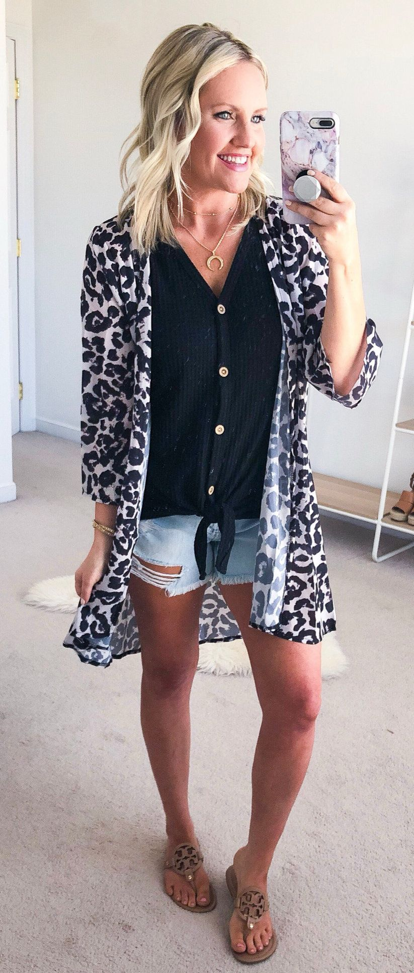 black and white leopard print cardigan #spring #outfits