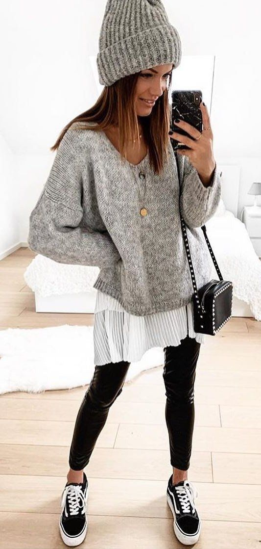 gray and black long sleeve dress #spring #outfits