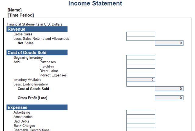 Income Template Income Statement Template For Excel, Income - proper income statement format
