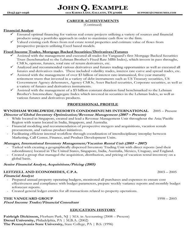financial representative resume