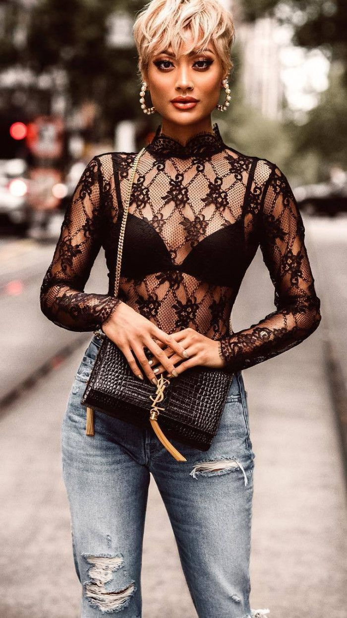 trendy outfit idea : black lace top bag rips