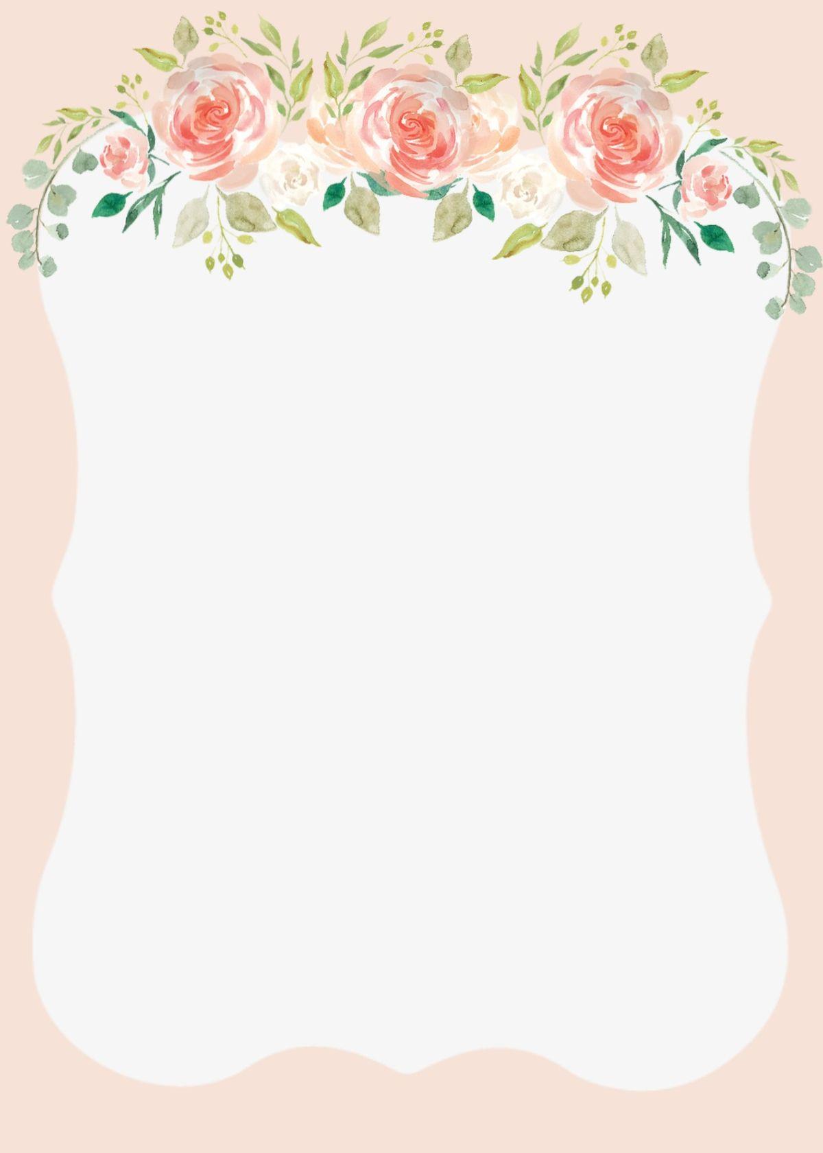 peach flower wedding invitation blank printable with