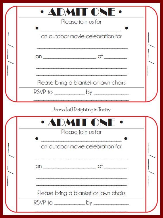 Movie Ticket Invitation Template Free Printable Free Printable - movie ticket template