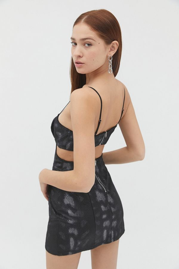 UO Candace Snake Print Cutout Mini Dress