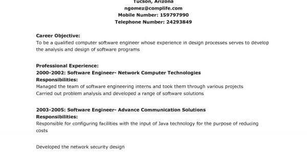 software engineer career objective