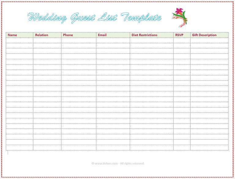 Wedding Guest List Template 7 Free Wedding Guest List Templates - invite list template
