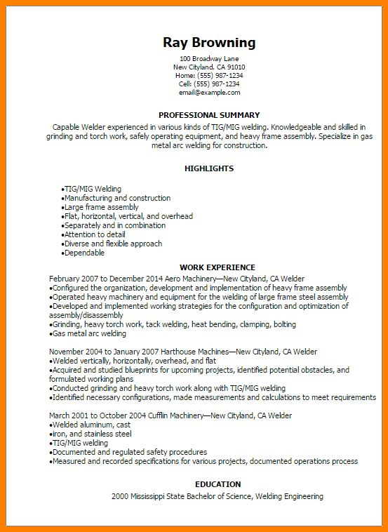 Resume For Welders Unforgettable Welder Resume Examples To Stand - resume for welder