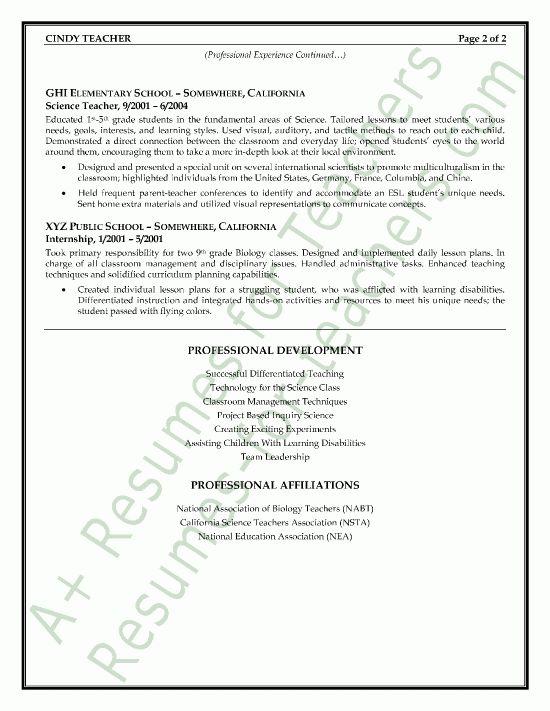 sample resume for science teachers