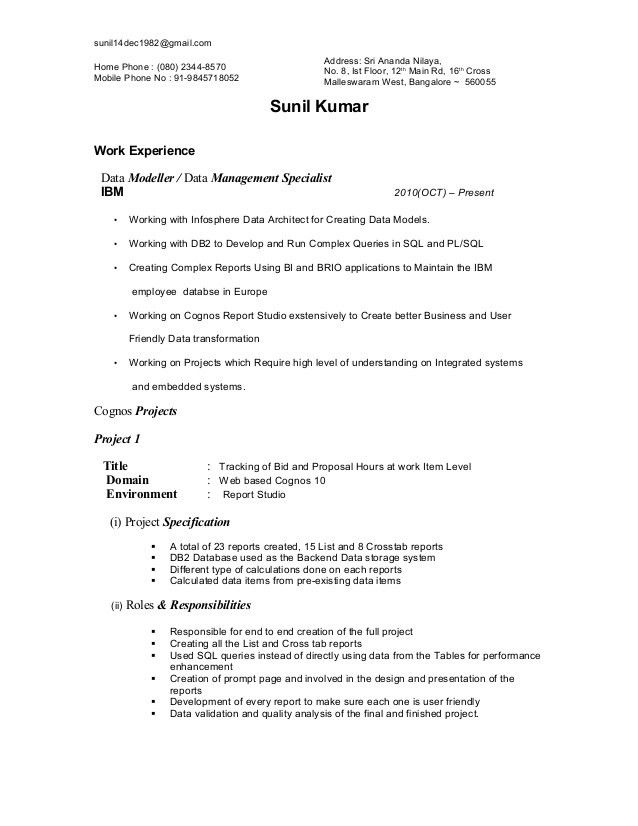 cognos enterprise planning resume cognos sample resume cognos