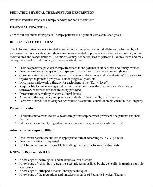 therapist job description resume