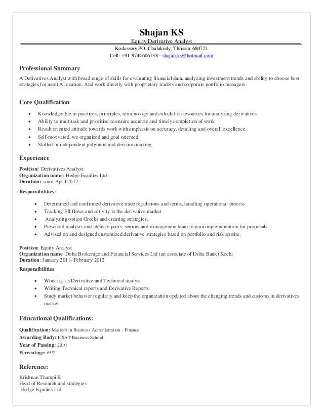 equity research associate resumes