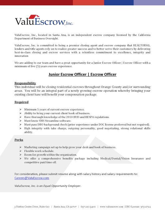 escrow officer resume | resume-template.paasprovider.com