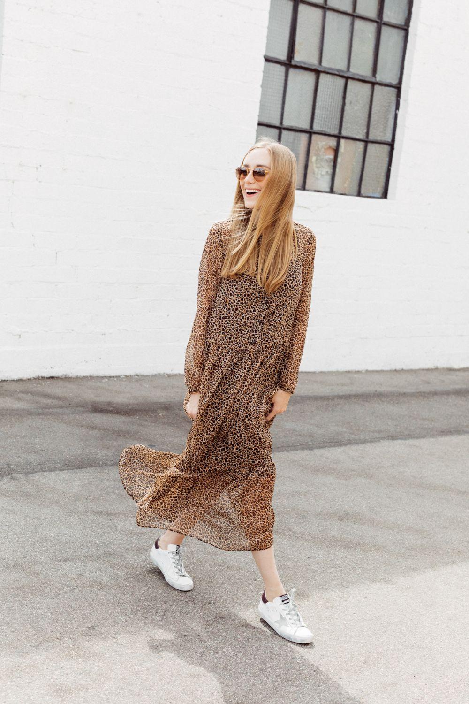 casual midi leopard dress with white golden goose sneakers // street style // mom style // eatsleepwear