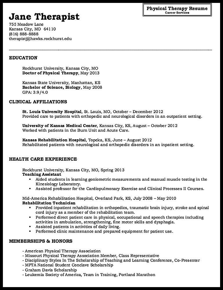 Sample Physical Therapy Resume Unforgettable Physical Therapist - physical therapist resume