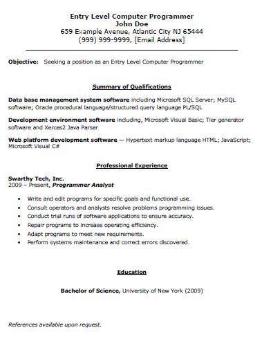 computer programming resume node494 cvresumecloudunispaceio - Specific Language Programmer Resume