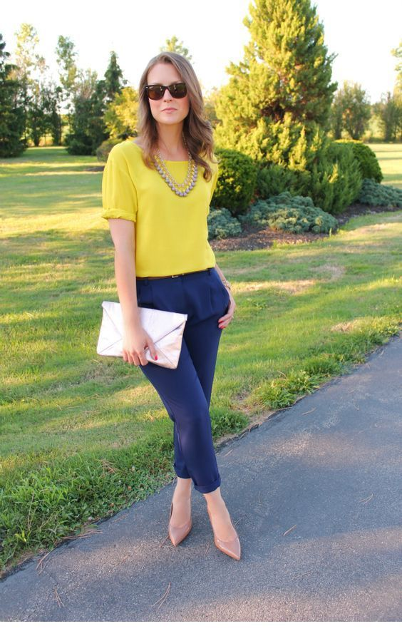 Yellow and navy color combo