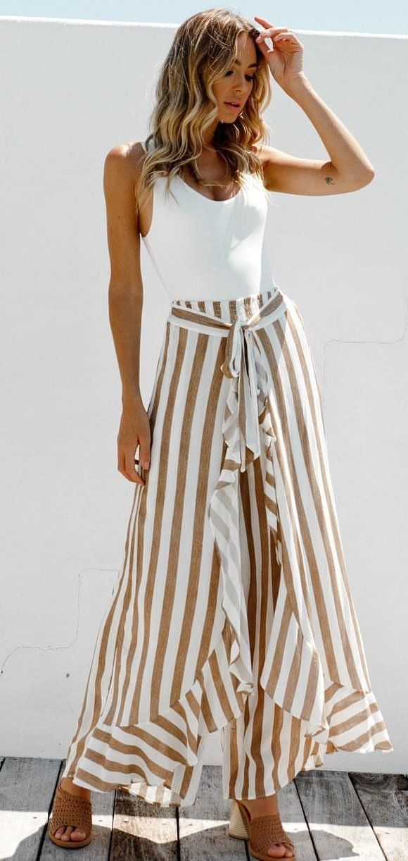 white and brown stripe sleeveless dress #spring #outfits