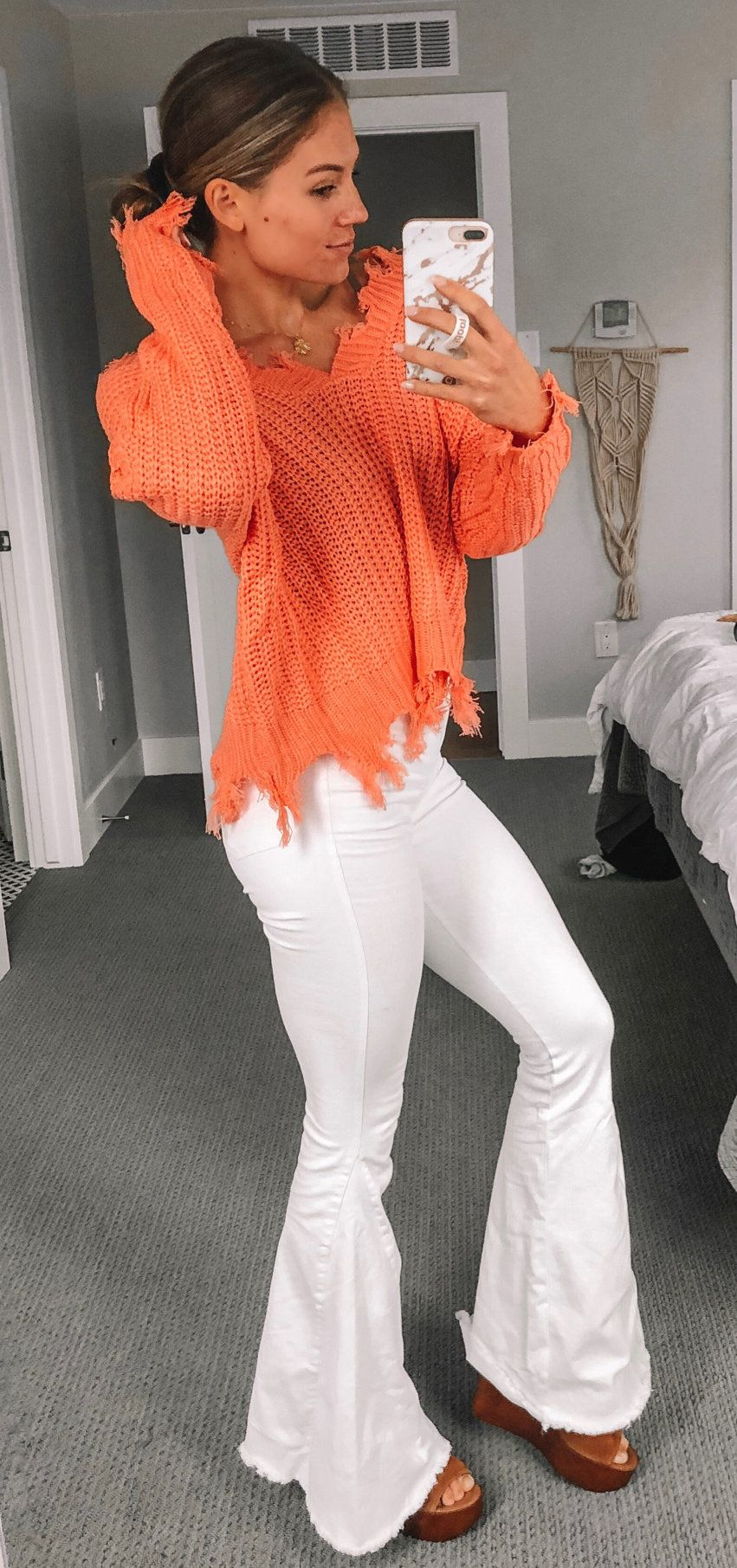 knitted orange button-up shirt and white flare pants #summer #outfits