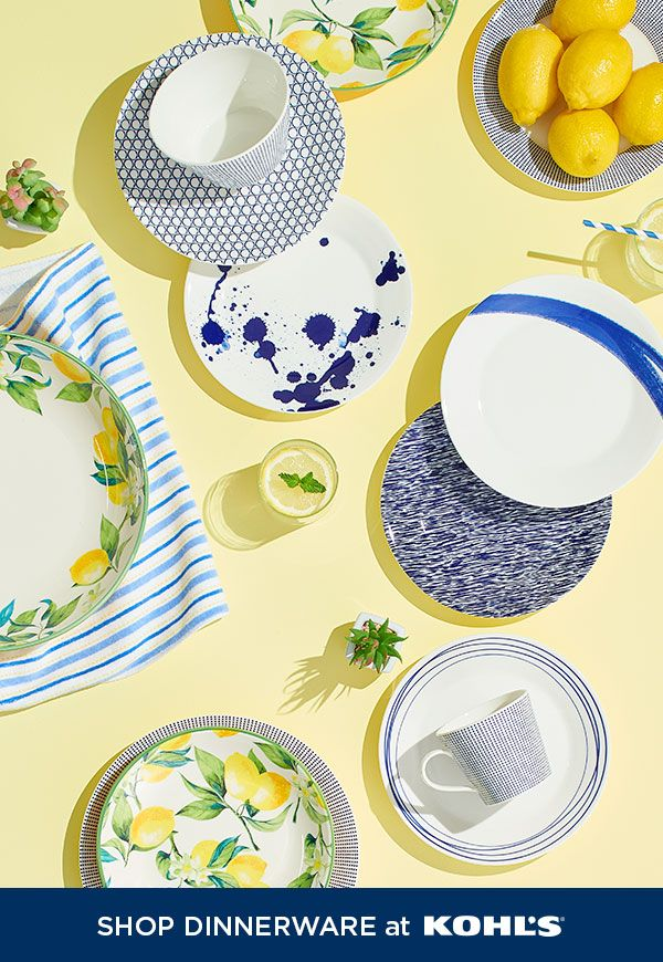 Dish out the style this season with vibrant new dinnerware. The riviera chic trend is so in right now and we can't get enough of it. From bright lemon bowls to bold blue plates, we've got everything you need to liven up the dinner table. Shop dinnerware, serveware, home refresh must-haves and more at Kohl's and Kohls.com. #riviera #home