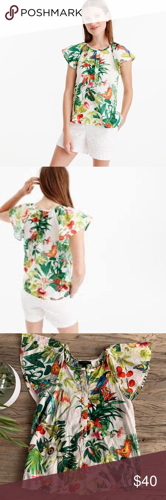 I just added this listing on Poshmark: J.Crew Woman's tropical ruffle sleeve top. #shopmycloset #poshmark #fashion #shopping #style #forsale #J. Crew #Tops