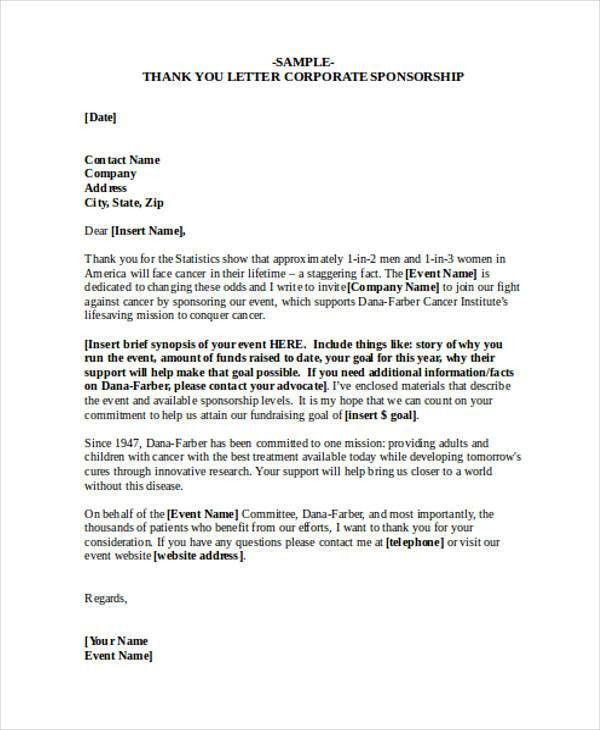 sponsor thank you letter efficiencyexperts - company sponsorship letter