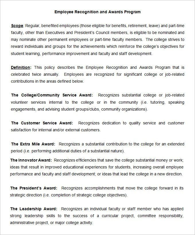Employee Recognition Templates Employee Recognition Awards Template
