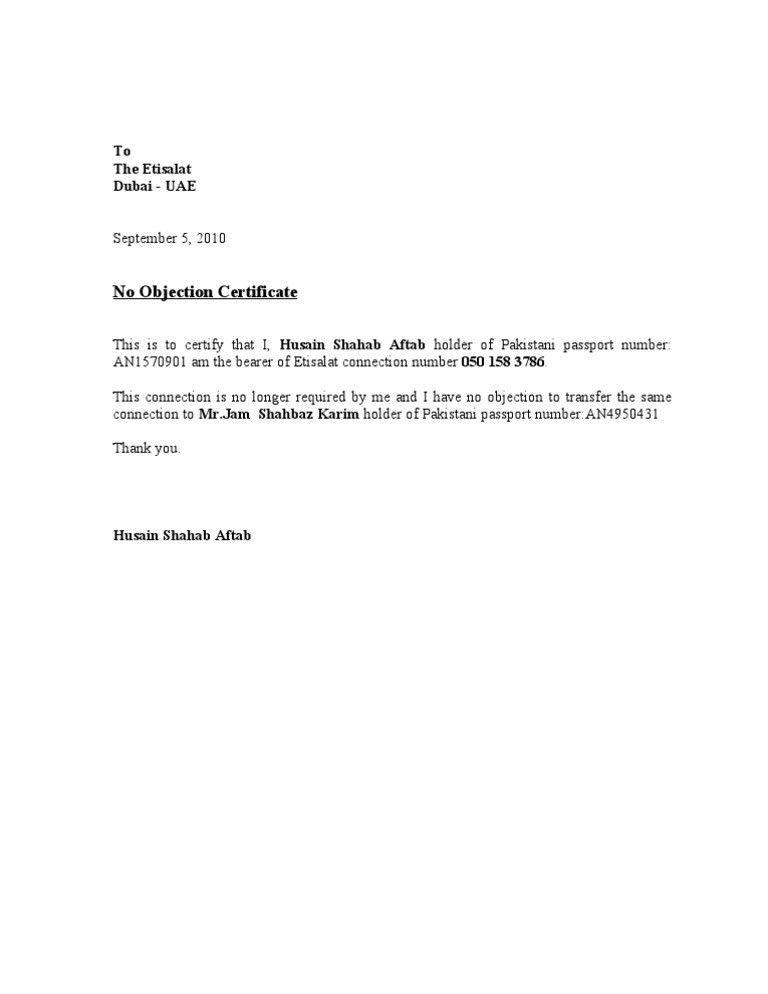 Noc Letter Sample Sample No Objection Letter Certificate Noc1, No - no objection format
