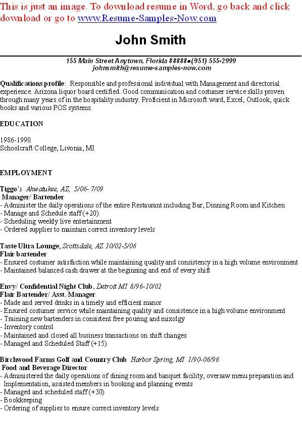 Bartender Job Description Template Sample Form Biztreecom   Bartender Resume  Example