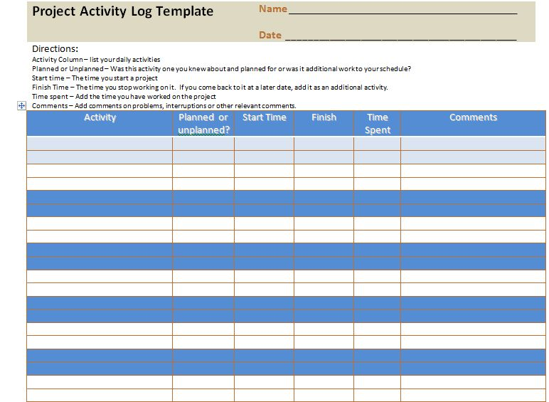Project Log Template 7 Free Project Log Templates Excel Pdf - activity log template