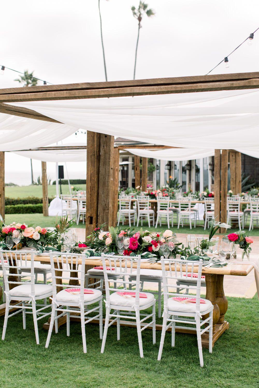 Tropical Laguna Beach Wedding with Pops of Hot Pink ⋆ Ruffled