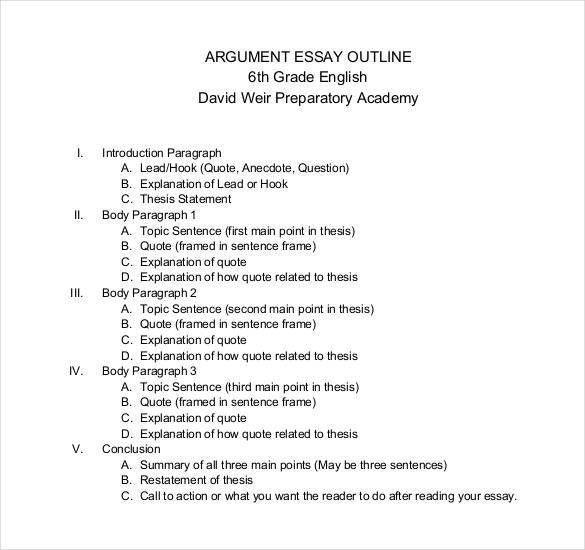 Outline Of Essay Example Essay Outline Template 25 Free Sample - sample argumentative essay