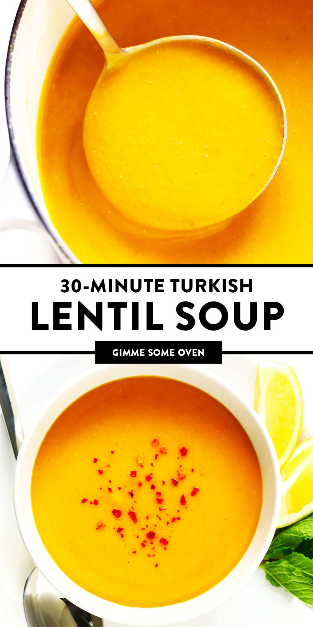 This Turkish Lentil Soup recipe is easy to make in just 30 minutes, lightly seasoned with cumin, lemon and fresh mint, and tastes delicious as a healthy appetizer or main dish. | gimmesomeoven.com #lentil #soup #healthy #turkish #vegetarian #vegan #glutenfree #dinner #mealprep