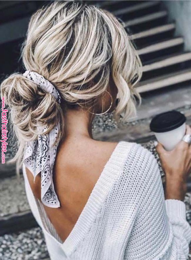 Best Undone Bun Styles with Scarf for Women 2018 Just visit here and choose one of the best styles of undone bun styles with scarf. You can say this one best ever ideas of hair styling for ladies to show off in 2018.