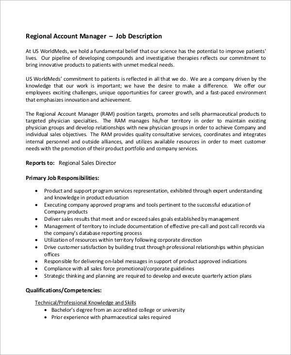 Regional Sales Manager Job Description Sales Manager Job - account management job description