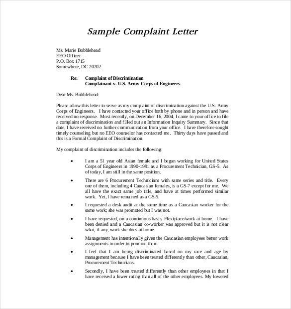 Formal Letter Complaint Sample 10 Business Complaint Letter - example complaint letter