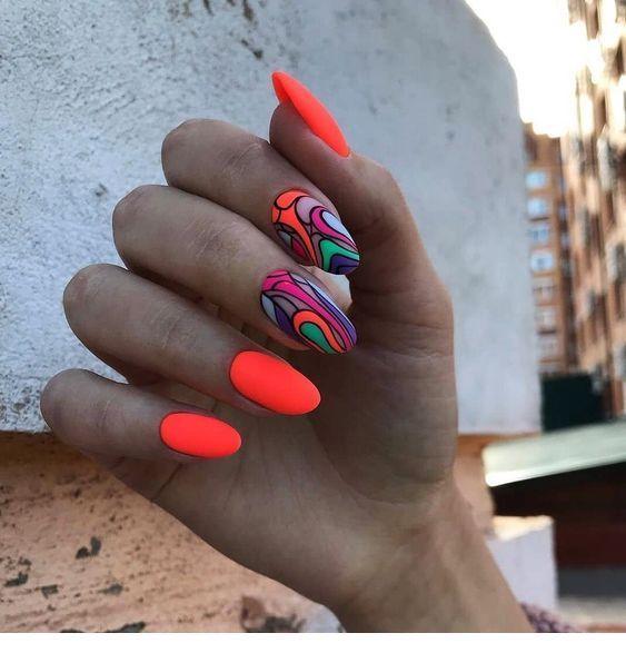 Cool neon gel nails design