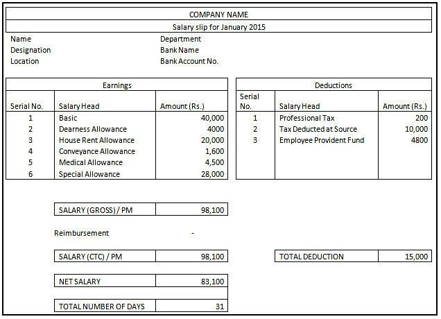 Salary Slip Salary Slip Format Graphics And Templates, Top 5 - payroll slip format